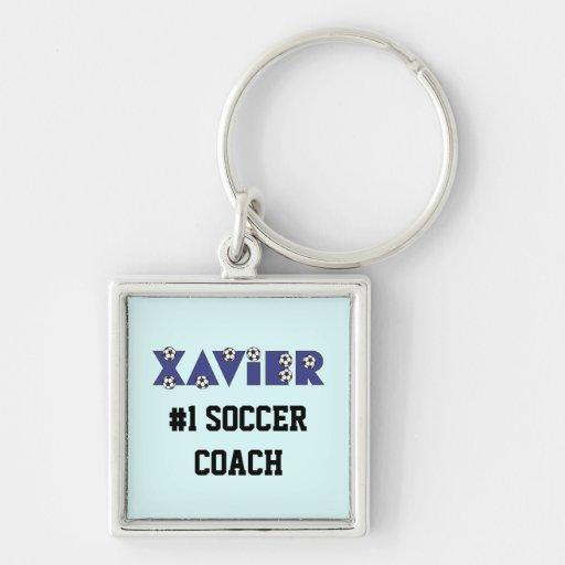 Xavier im Fußball-Blau Schlüsselband