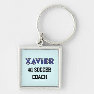 Xavier im Fußball-Blau Silberfarbener Quadratischer Schlüsselanhänger