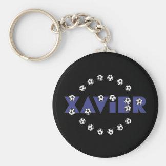 Xavier im Fußball-Blau Standard Runder Schlüsselanhänger
