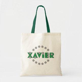 Xavier im Fußball-Grün Einkaufstasche