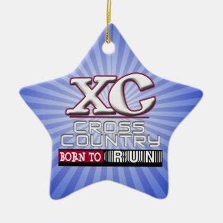 XC QUERland-MOTTO GEBOREN, KASTANIENBRAUN LAUFEN Keramik Ornament