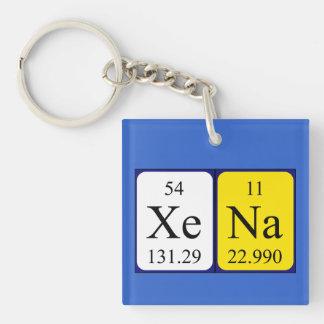 Xena Periodensystem-Namenschlüsselring Einseitiger Quadratischer Acryl Schlüsselanhänger