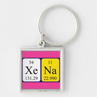 Xena Periodensystem-Namenschlüsselring Silberfarbener Quadratischer Schlüsselanhänger