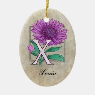 Xeranthemum Blumen-Monogramm Keramik Ornament