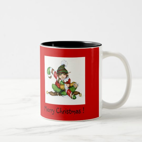 XMAS Elf and CandyCane'09, Merry Christmas !, ©... Zweifarbige Tasse