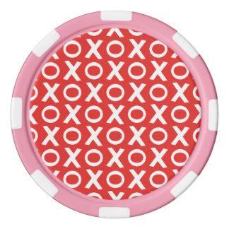XO küsst und umarmt rotes Weiß der Poker Chips