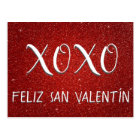 XOXO Feliz San Valentín roter Schein und Glitzer Postkarte