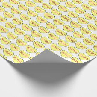 XOXO gelber Süßigkeits-Herz-PastellValentinstag Geschenkpapier
