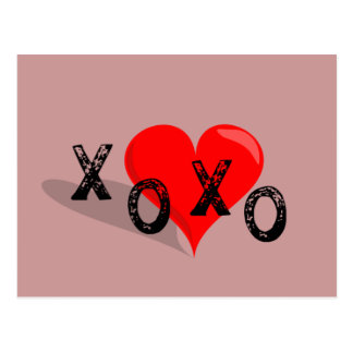XOXO Herz umarmt und Küsse Postkarte