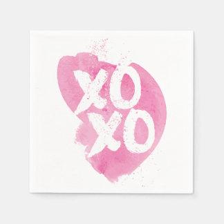 XOXO rosa Aquarell-Spritzen Papierserviette