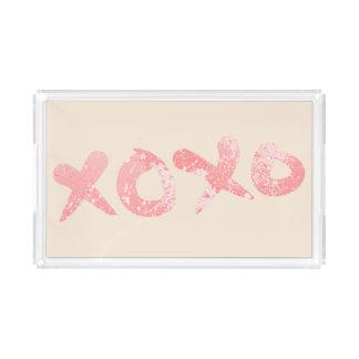 XOXO rosa Farben-Spritzer Acryl Tablett