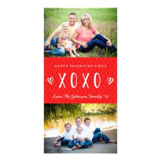 XOXO rote weiße Familien-Foto-Karte Valentines Karte