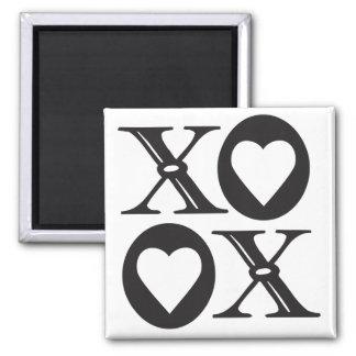 XOXO schwarzer Abziehbildmagnet Quadratischer Magnet