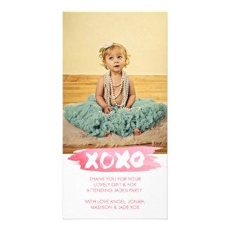 XOXO Watercolor küsst Umarmungen danken Ihnen Photo Grußkarte