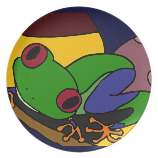 XX Baum-Frosch-abstrakte Kunst Teller