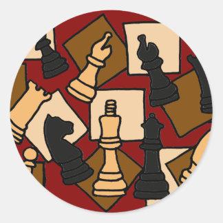 XX bessert fantastisches Schach-Spiel Kunst aus Runder Aufkleber