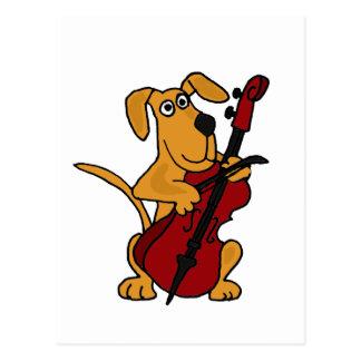 XX Brown-Hündchen, welches das Cello spielt Postkarte