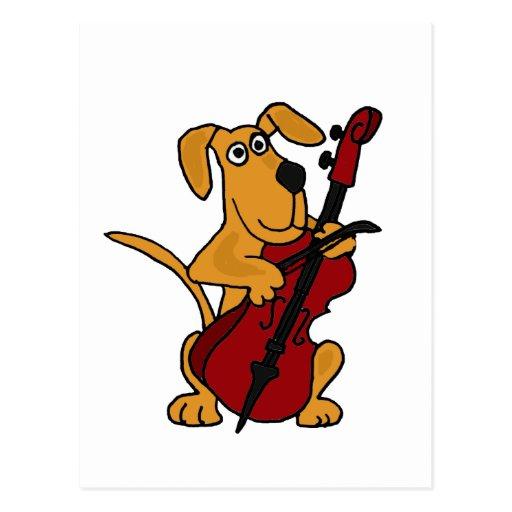 XX Brown-Hündchen, welches das Cello spielt Postkarten