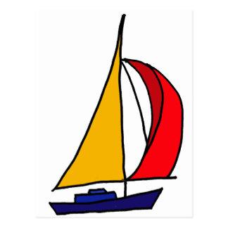 XX buntes Segelboot Postkarten