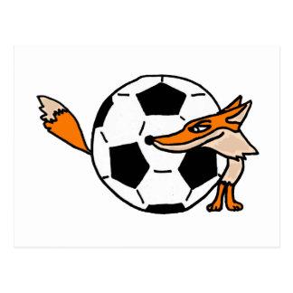 XX Fox hinter einer Fußball-Kunst Postkarte