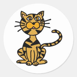 XX gestreifter Katzen-Cartoon Runder Aufkleber