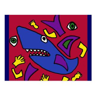 XX lustige Haifischcubist-Kunst Postkarte