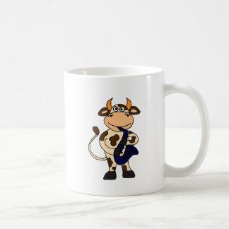 XX lustige Kuh, die Saxophone-Cartoon spielt Kaffeetasse