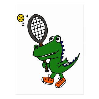 XX lustiger Alligator, der Tennis spielt Postkarte