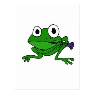 XX lustiger Frosch, der Clarinet spielt Postkarte