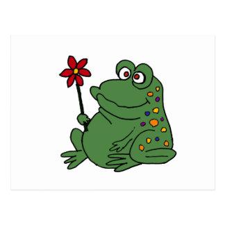 XX lustiger Hippie-Frosch, der Gänseblümchen hält Postkarte