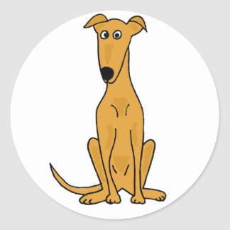 XX lustiger Windhund-HundeCartoon Runder Aufkleber