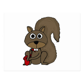 XX lustiges Eichhörnchen, welches das Saxophon Postkarten