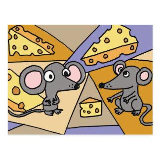XX Mäuse und Käse-Kunst Postkarte