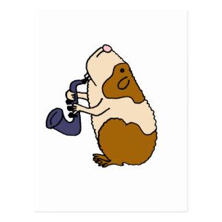 XX Meerschweinchen, welches das Saxophon spielt Postkarte