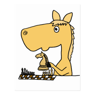 XX Pferd das Schach-Cartoon spielt Postkarte