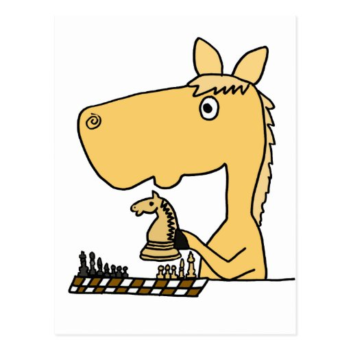 XX Pferd, das Schach-Cartoon spielt Postkarte