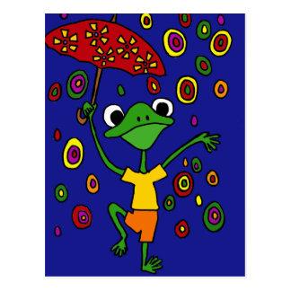 XX prachtvolles Frosch-Tanzen im Regen Postkarte