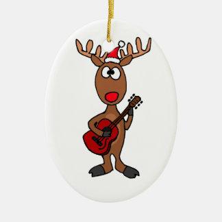 XX Rendeer, das Gitarre spielt Keramik Ornament