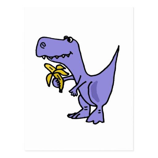 XX T-Rex Dinosaurier, der Bananen-Cartoon isst Postkarten