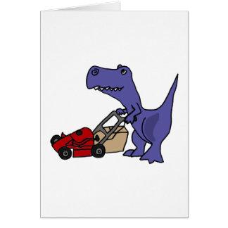 XX T-rex Dinosaurier, der Rasenmäher drückt Karte