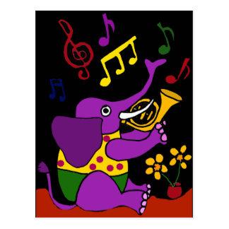 XX Volkskunst-Elefant, der französisches Horn Postkarte