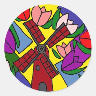 XX Windmühlen-und Tulpe-Blumenkunst Aufkleber