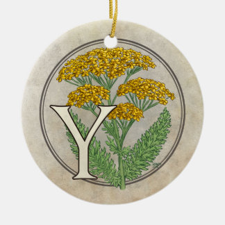 Y für Schafgarbe-Blumen-Monogramm Keramik Ornament