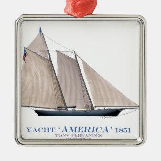 Yacht Amerika 1851 Silbernes Ornament