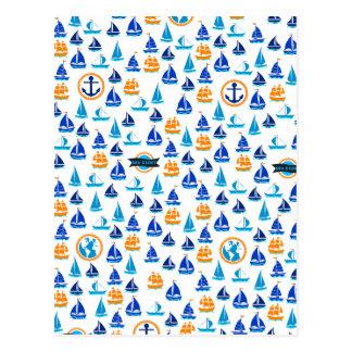 Yacht-Schiffs-Boots-Seeseemuster Postkarte