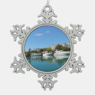 Yachten in der Türkei Schneeflocken Zinn-Ornament