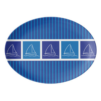 Yachtmuster Porzellan Servierplatte