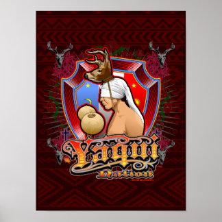 Yaqui Rotwild-Tänzer-Kunstdruck auf tiefroten 2 Poster