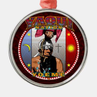 Yaqui Yoeme Rotwild-Tänzerentwurf Rundes Silberfarbenes Ornament