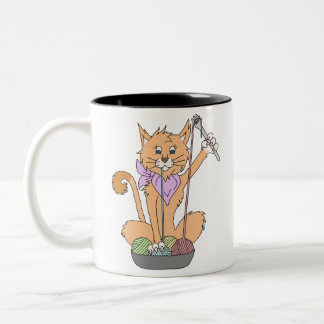 Yarnivore Katzen-Tasse Zweifarbige Tasse